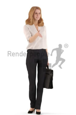 3d people business, white 3d woman standing and holding a briefcase and shaking hands