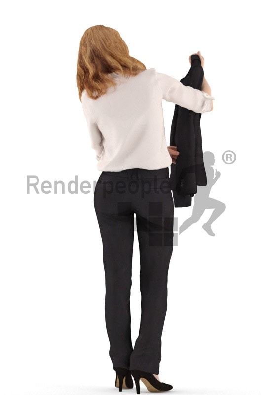 3d people retail, white 3d woman standing shopping new clothes