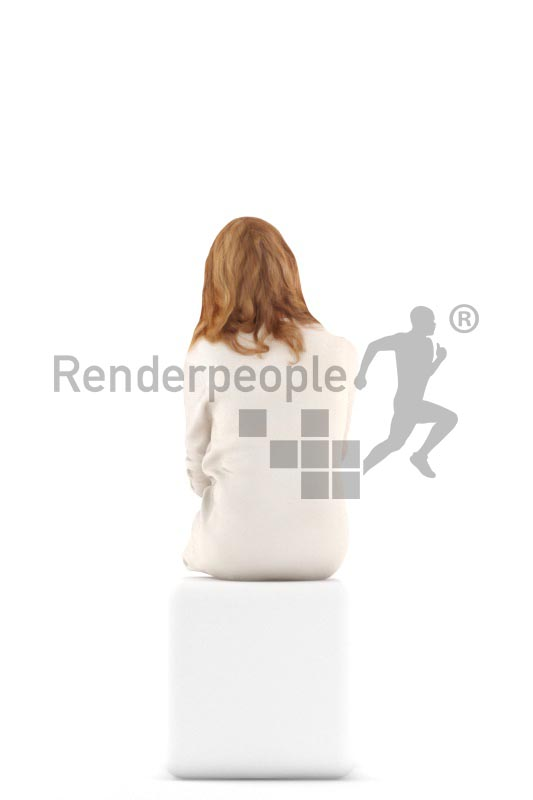 3d people casual, white 3d woman sitting and drinking