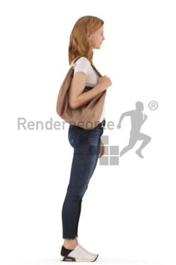 3d people casual, white 3d woman standing smiling