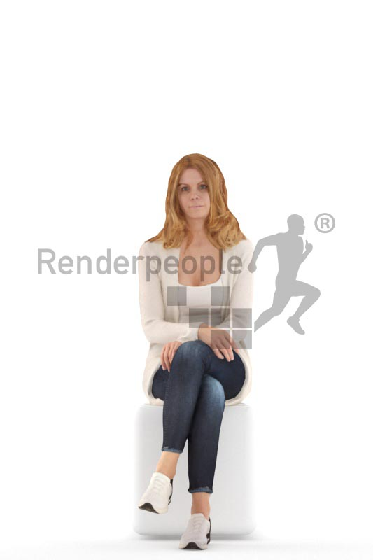 3d people casual, white 3d woman sitting and waiting