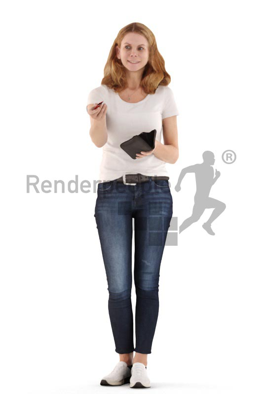 3d people casual, white 3d woman standing and paying