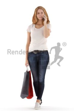 3d people casual, white 3d woman walking, shopping and calling