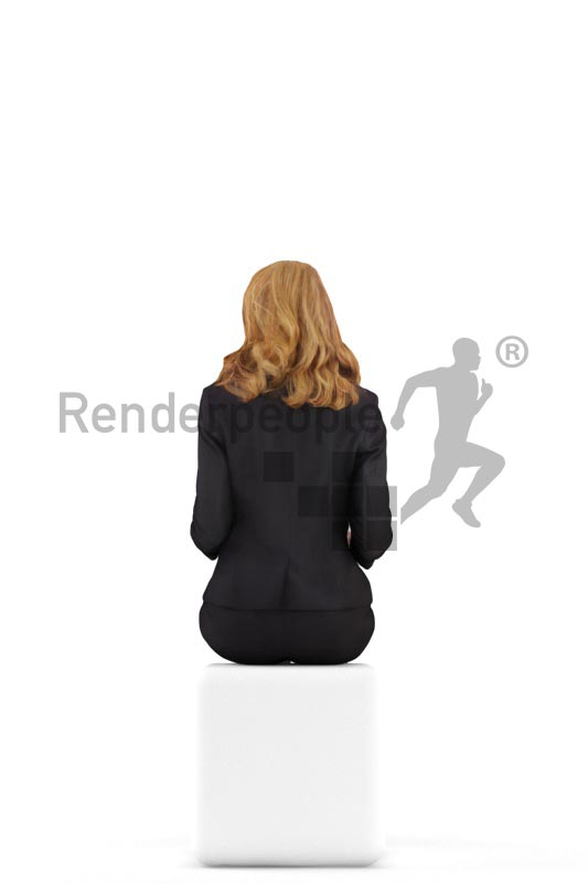 3d people business, white 3d woman sitting and discussing