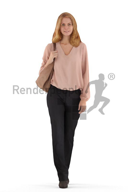 3d people business, white 3d woman walking and talking