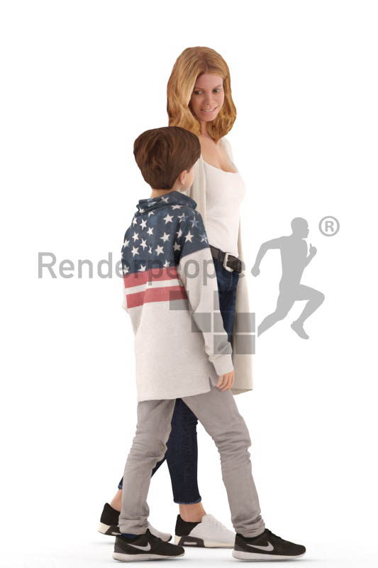 3d people. casual, mother and son walking together