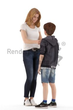 3d people. casual, mother and son standing