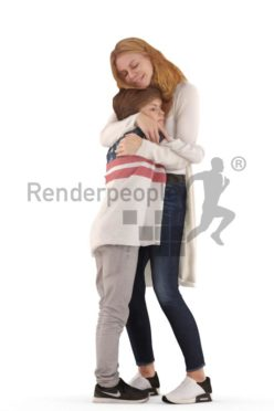 3d people. casual, mother and son hugging