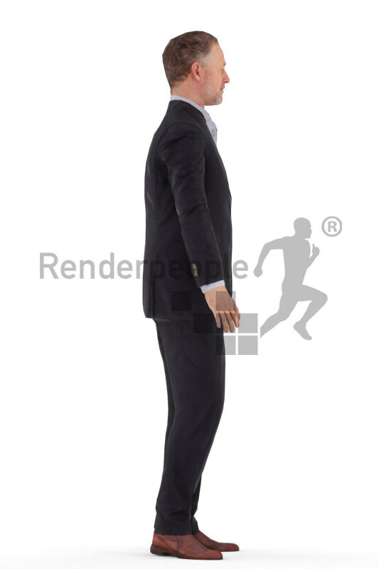 Animated human 3D model by Renderpeople – elderly white man in suit, talking