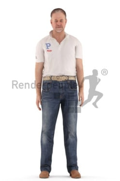 3d people casual, white animated man walking