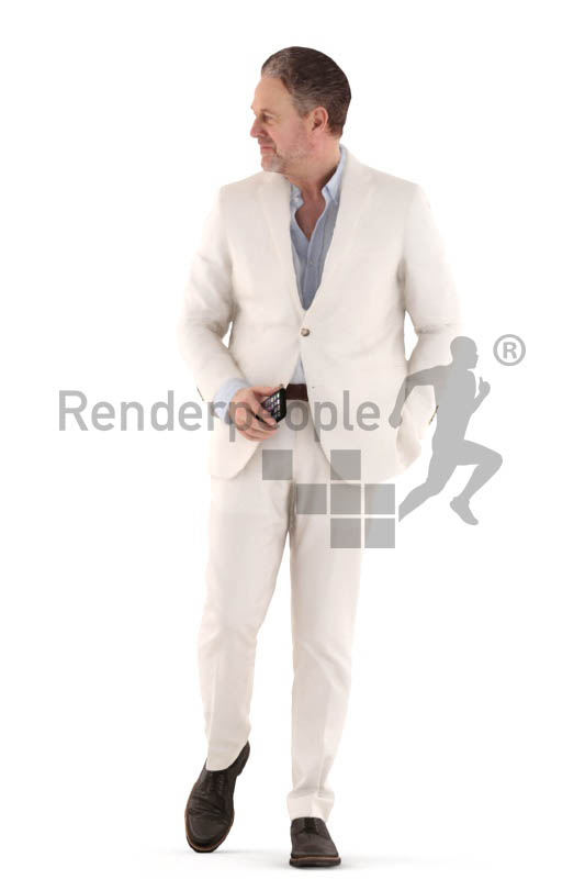 3d people event, man walking with his mobile in the hand
