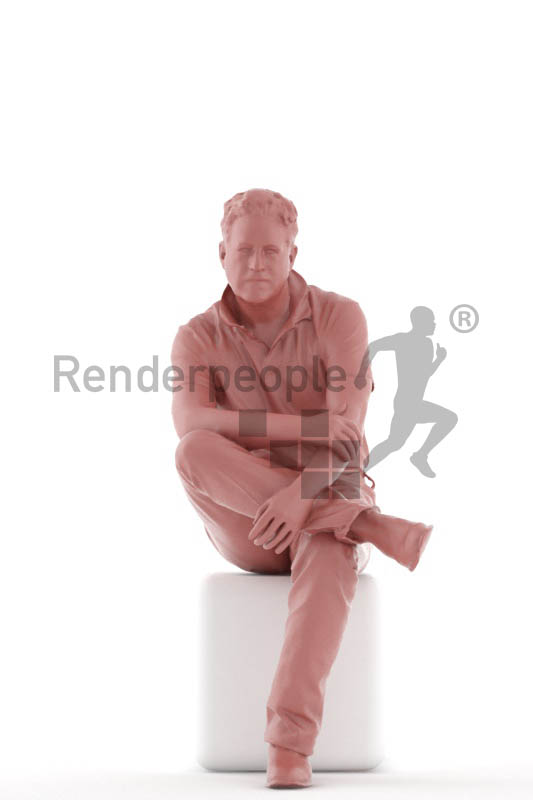 3d people casual, mam sitting