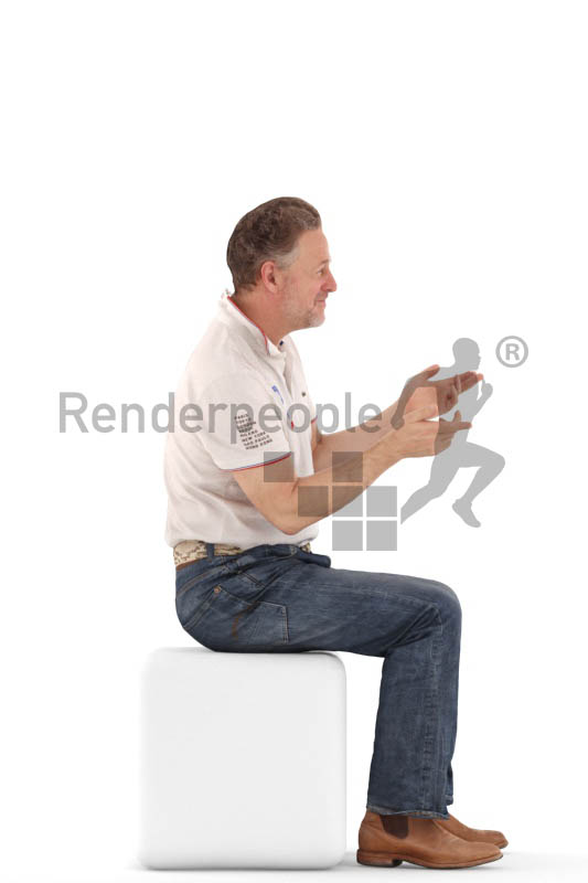 3d people casual, mam sitting and discussing