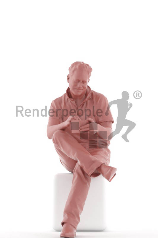 3d people casual, mam sitting, looking in his wallet