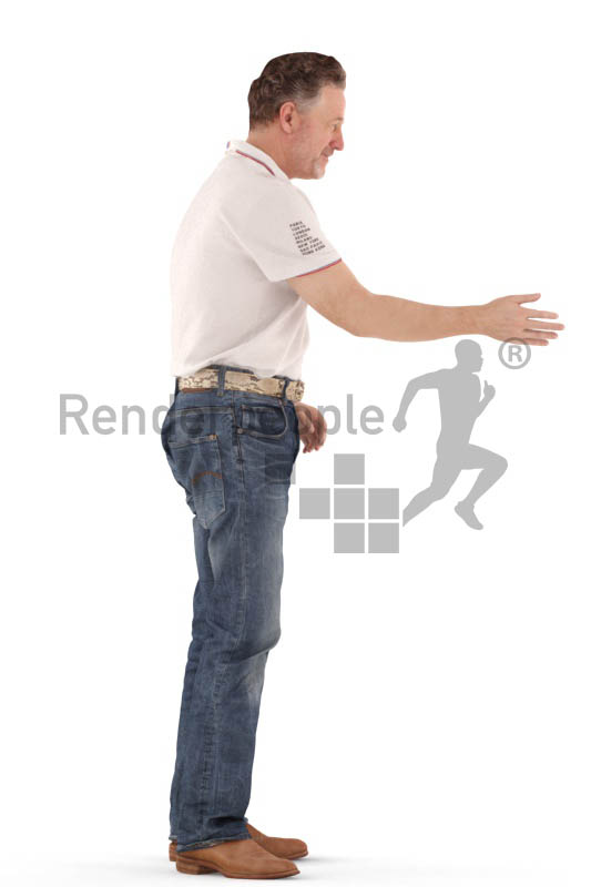 3d people casual, man staqnding, shaking hands
