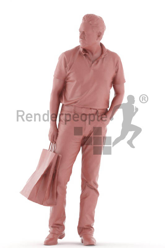3d people casual, man walking with shopping bags