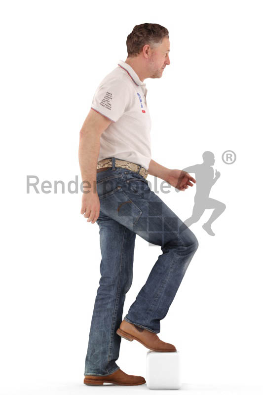 3d people casual, man walking upstairs