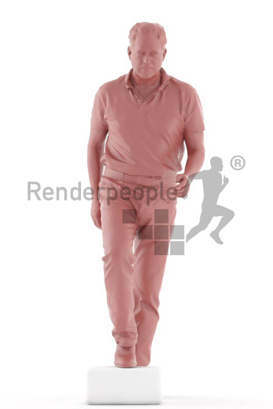 3d people casual, man walking upstairs