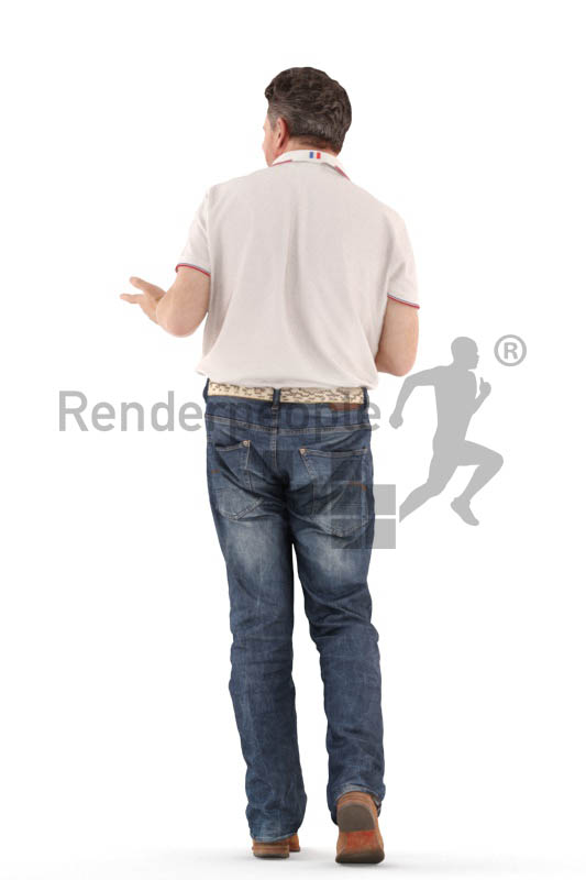 3d people casual, man walking with a coffee
