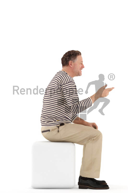 3d people casual, man sitting and discussing