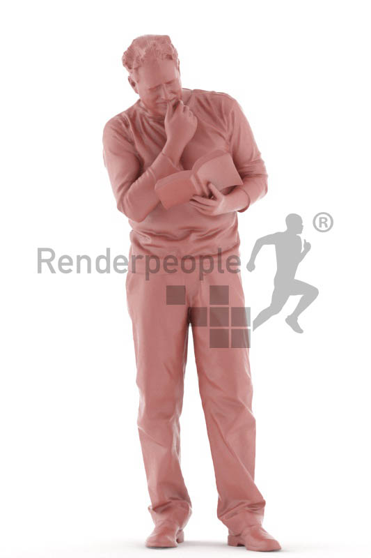 3d people casual, man standing and reading a book