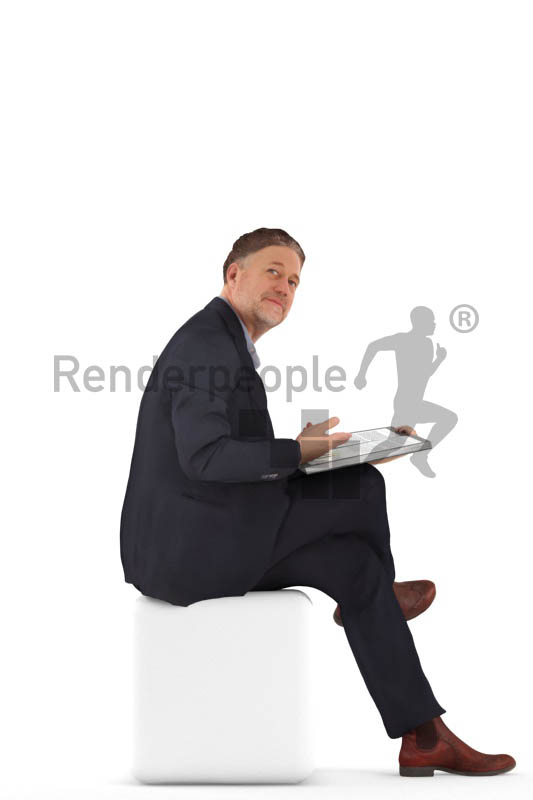 3d people business, man sitting wit a folder and talking