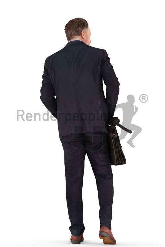 3d people business, man walking with a suitcase and an umbrella