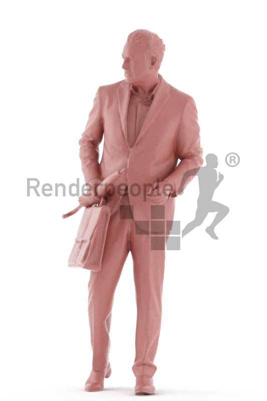 3d people business, 3d man walking holding an umbrella