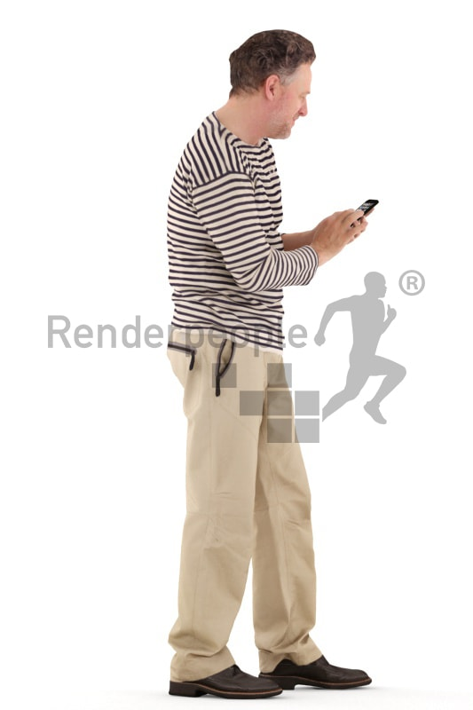 3d people casual, man standing, typing on his phone