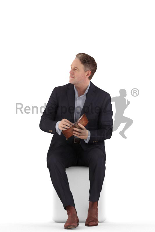 3d people business, man sitting and paying