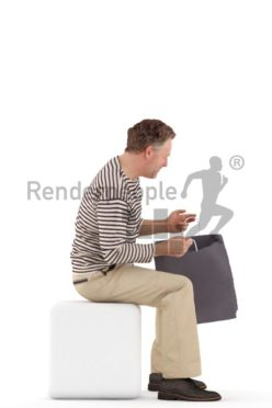 3d people casual, man sitting and looking in his shopping bag
