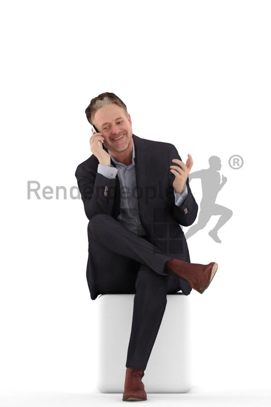 3d people business, man sitting and calling