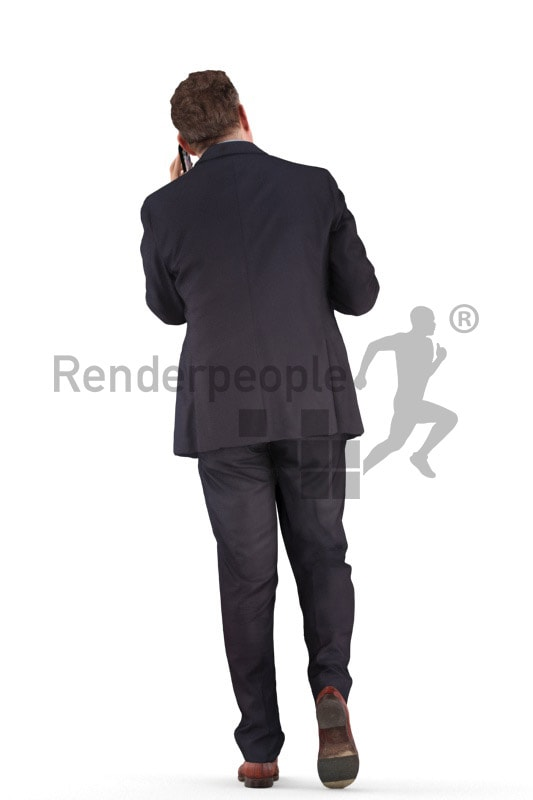3d people business, man walking and calling