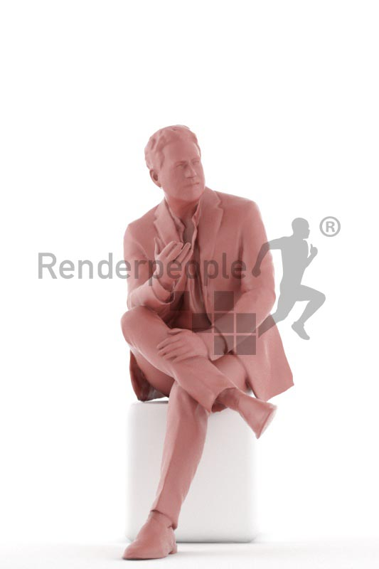 3d people business, man sitting and discussing