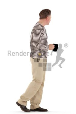 3d people casual, man walking and drinking coffee
