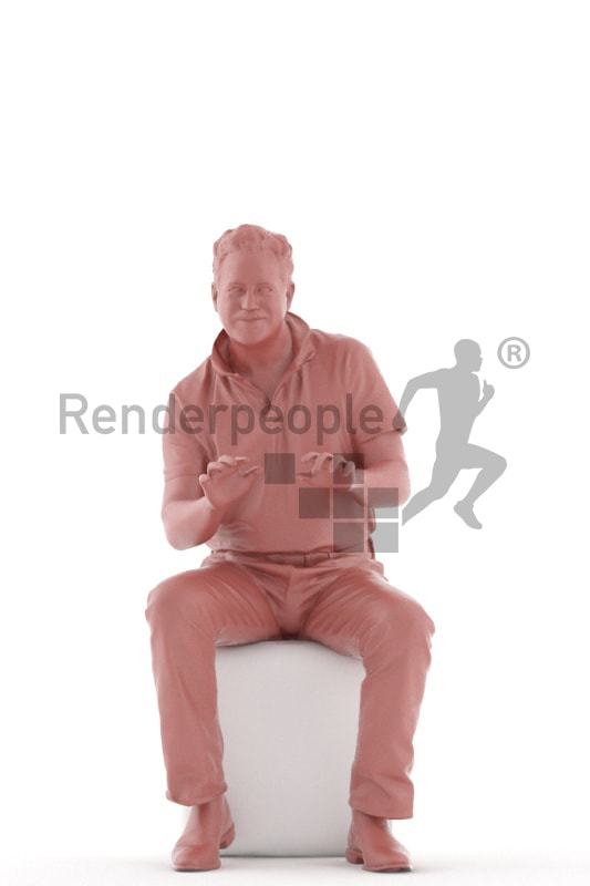 3d people casual, man sitting and typing