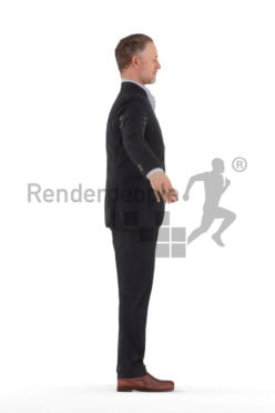 3d people business, rigged best ager man in A Pose