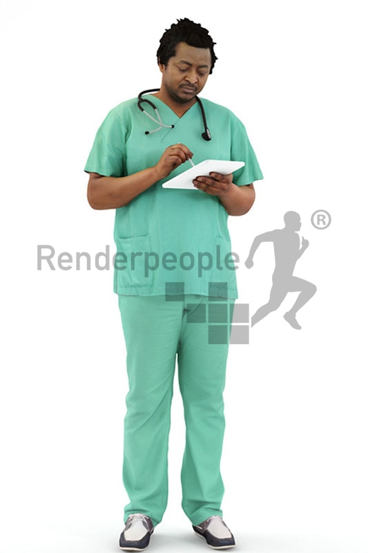 3d people service, 3d doctor working in a hospital