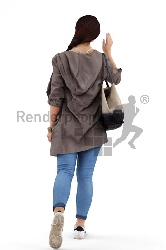3d people casual, middle eastern 3d woman walking and waving