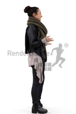 3d people casual, middle eastern 3d woman smiling