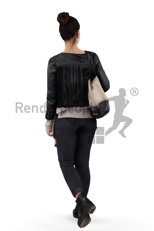 3d people shopping, middle eastern 3d woman carrying a bag walking