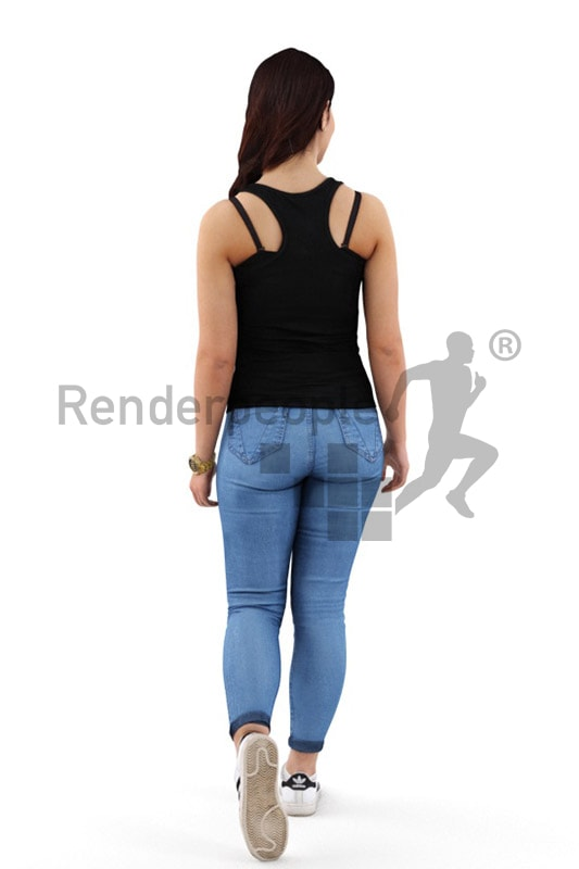 3d people casual, middle eastern 3d woman walking and smiling