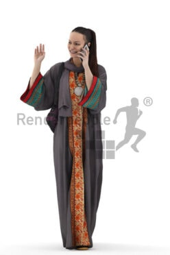 Scanned human 3D model by Renderpeople – middle eastern female in traditional clothing, walking and calling with mobilephone