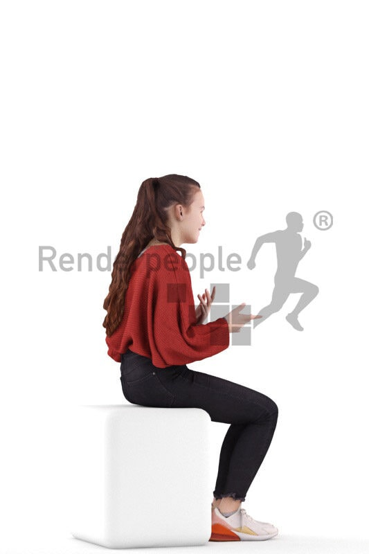 Posed 3D People model for renderings – european teenager girl in casual red pullover, sitting and talking