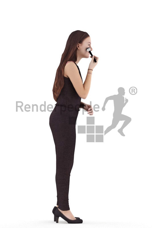 Scanned human 3D model by Renderpeople – young european woman in chic jumpsuit, standing and doing her makeup