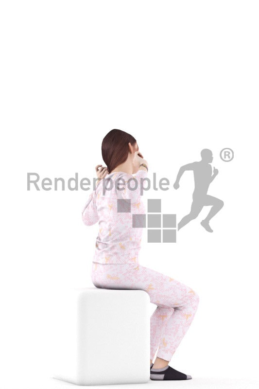 3D People model for 3ds Max and Cinema 4D – european girl in sleepwear, waking up