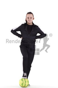 Scanned human 3D model by Renderpeople – european teenager girl in sports clothing, standing with soccer ball
