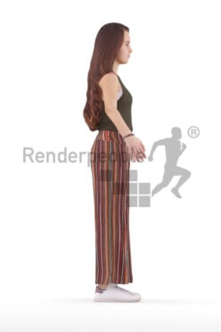 Rigged 3D People model for Maya and Cinema 4D – european teenage girl in casual summer outfit