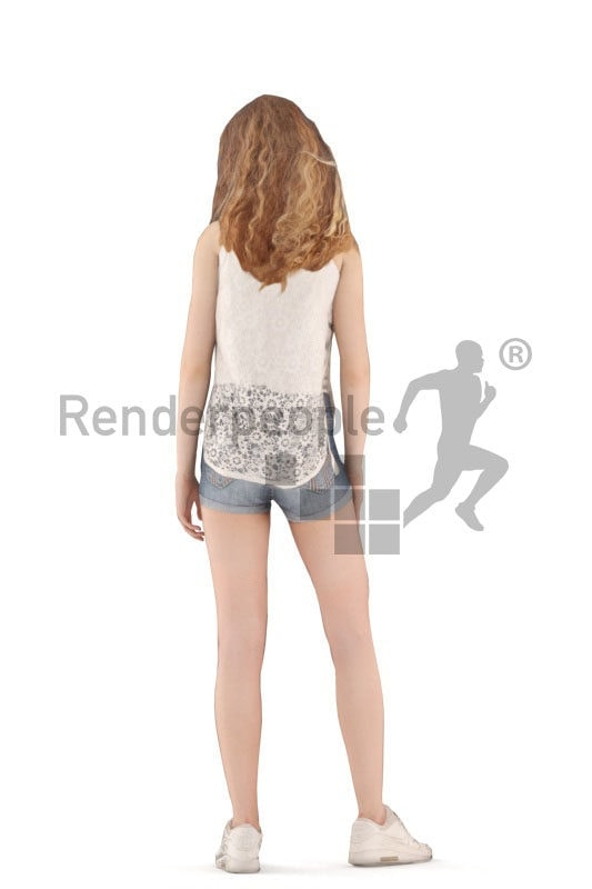 3d people casual, animated woman idling