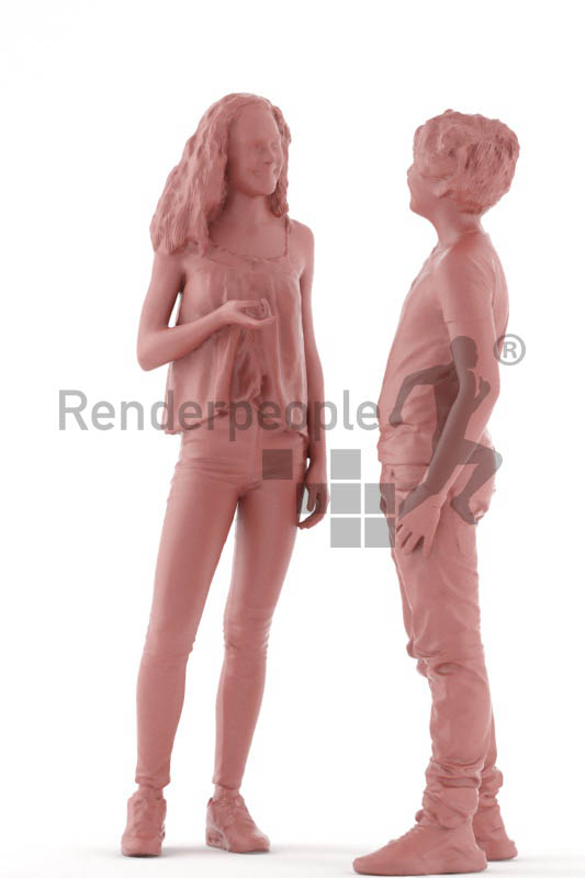 3d people casual, white 3d kids standing and talking